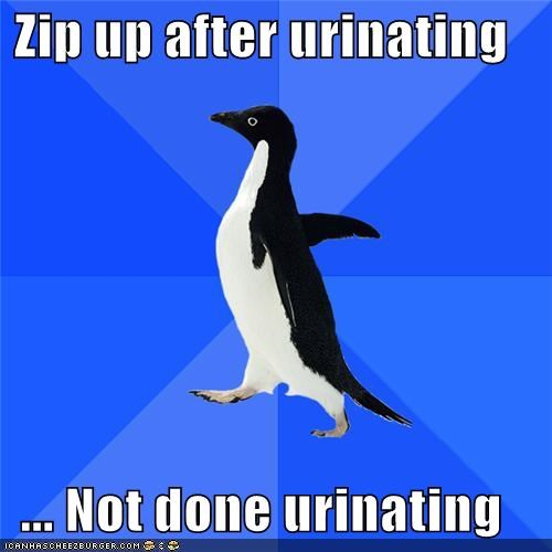 failing,peeing,socially awkward penguin,urinating,zip