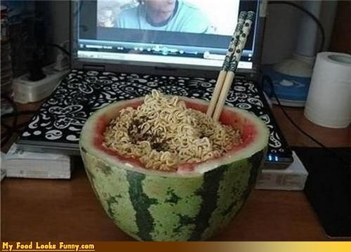 bowl chopsticks noodles ramen soup watermelon - 4277880576
