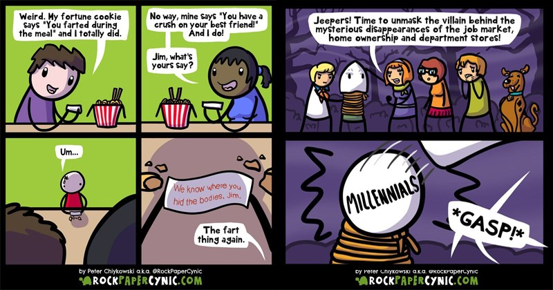 Cynical and dark webcomics filled with puns