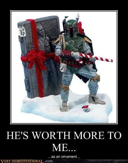 awesome,boba fett,christmas,Empire Strikes Back,Han Solo,holidays,ornament