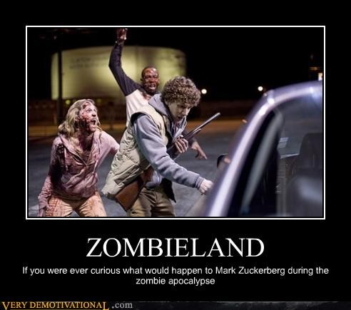 ZOMBIELAND If you were ever curious what would happen to Mark Zuckerberg during the zombie apocalypse