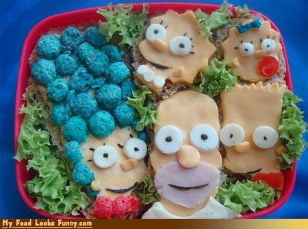 bento bread cartoons characters cheese ham lettuce lunch simpsons