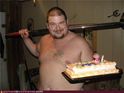 cake,fat guy,options,shirtless,sword,wtf