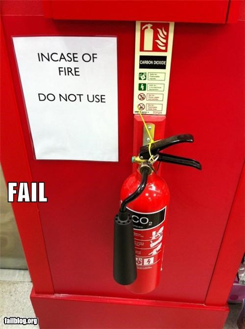 emergency extinguisher failboat fire g rated sign - 4281365760