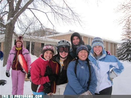 cruelty,forever alone,girls,loneliness,photobomb,snow,sports