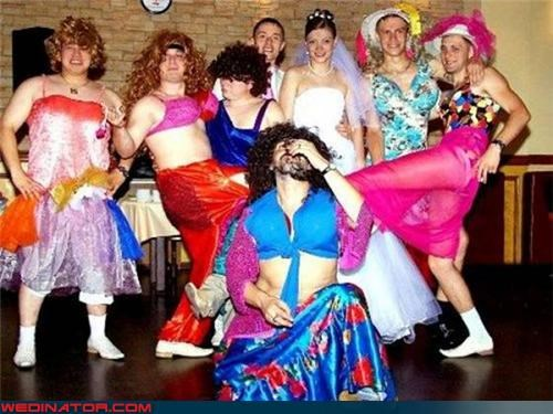 bride,confusing,crossdressing,crossdressing groomsmen,fashion is my passion,funny groomsmen picture,funny wedding party picture,funny wedding photos,groom,Groomsmen,miscellaneous-oops,surprise,wedding party,Wedding Themes,wtf