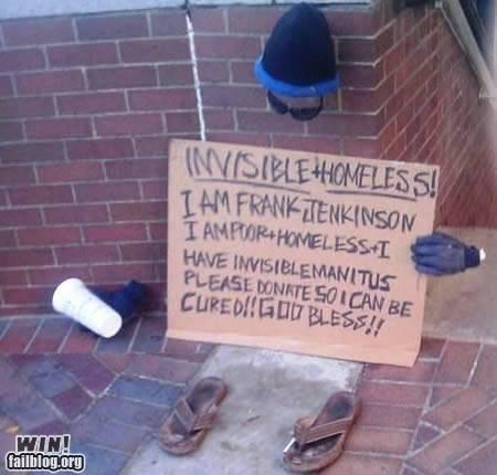 art clever homeless sign