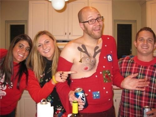 costume nipple Party reindeer sweater wtf - 4285654016