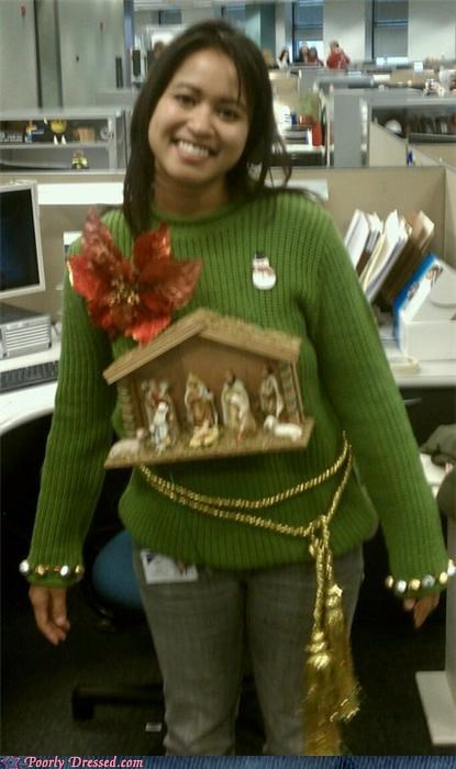 christmas eww Flower manger sweater winter weird