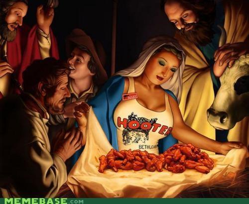 bewbs hooters mary Memes Nativity - 4286348800