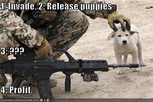 dogs guns invasion military plans profit puppy schemes - 4286896128