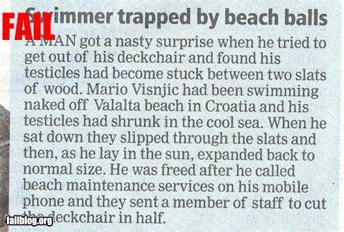 article balls classic embarrassing failboat newspaper ouch stuck summer fails swimming - 4287072768