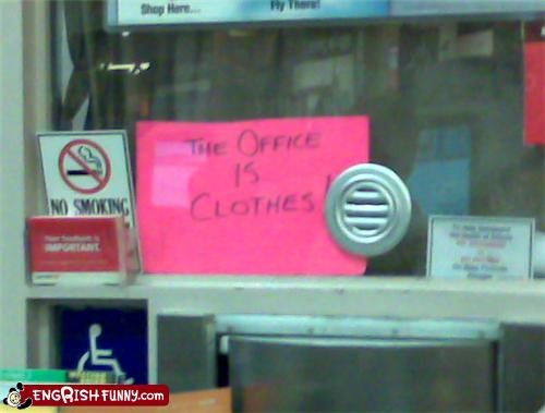 closed clothes Office