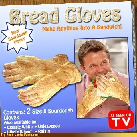bread,fake product,gloves,hands