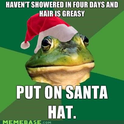 foul bachelor frog,greasy,no shower,santa,smelly