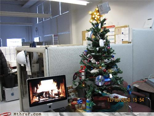 christmas,cubicle,decorations,desk,geek,imac,tree