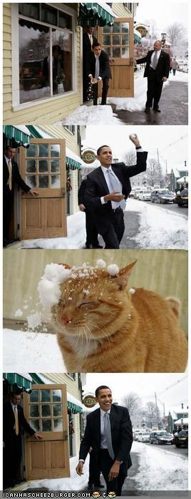 barack obama,comixed,off,snow,snowball,snowball fight,winter