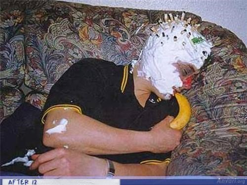 banana passed out cigarette buts shaving cream - 4288040448