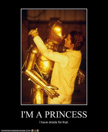 I'M A PRINCESS I have droids for that.