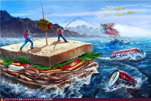 art coca cola deadly drawing food nom nom nom sandwiches wtf - 4288525312