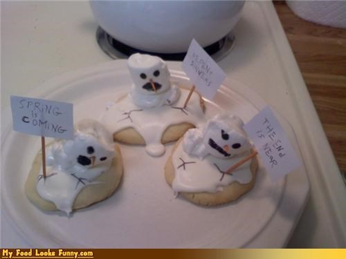 cookies,icing,marshmallows,melt,melting,snowman,snowmen,Sweet Treats