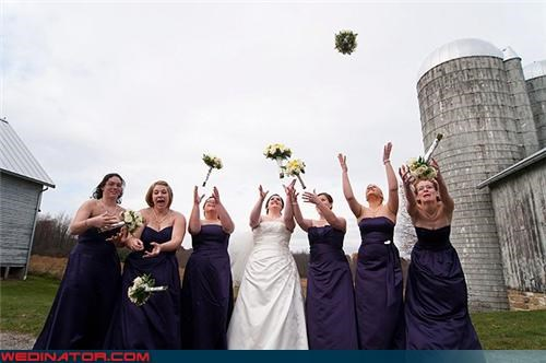 bouquet toss,bouquet tossing,bride,emotional bridesmaids,fashion is my passion,funny bouquet toss picture,funny bridesmaids picture,funny wedding photos,miscellaneous-oops,silo,surprise,wedding party