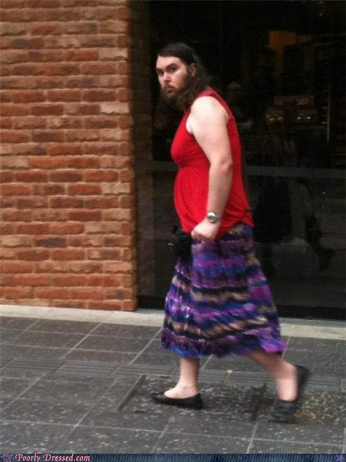 beard,crossdressing,flats,long hair,sasquatch,skirt