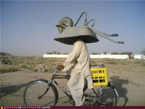 bike fashion helmet wheel barrow wtf