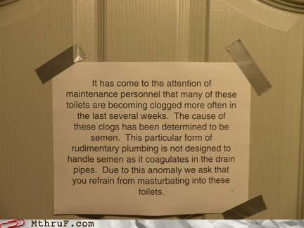bathroom clog masturbation note semen toilet