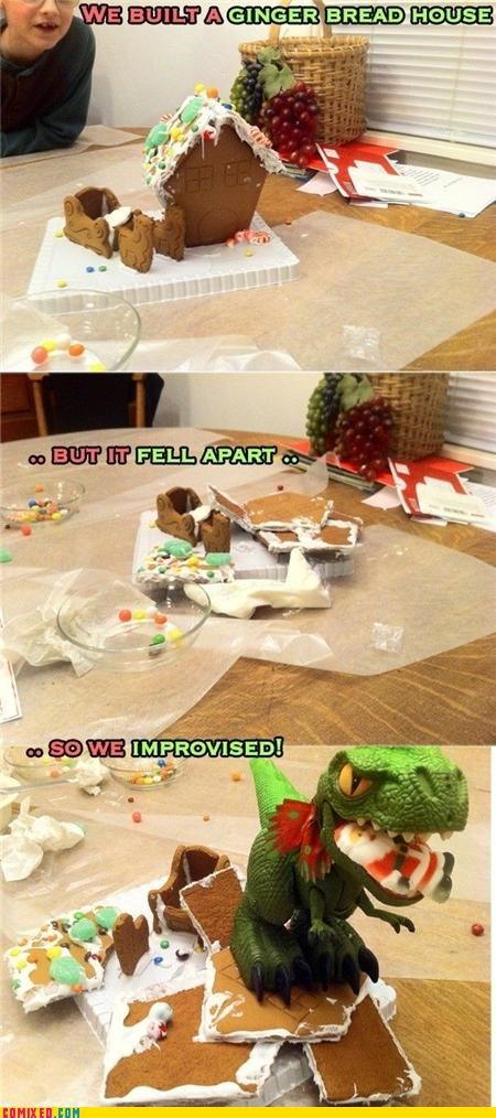 dinosaurs gingerbread holidays santa self improvement the internets - 4290522112