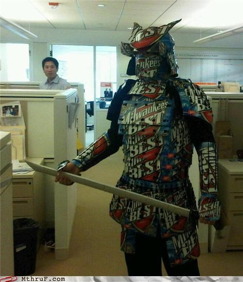 awesome,beer,cardboard,FTW,samurai