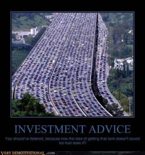 cars,investments,modern living,sad but true,tank,Traffic Jam