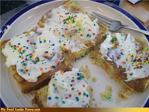breakfast,cake,confetti,french toast,frosting