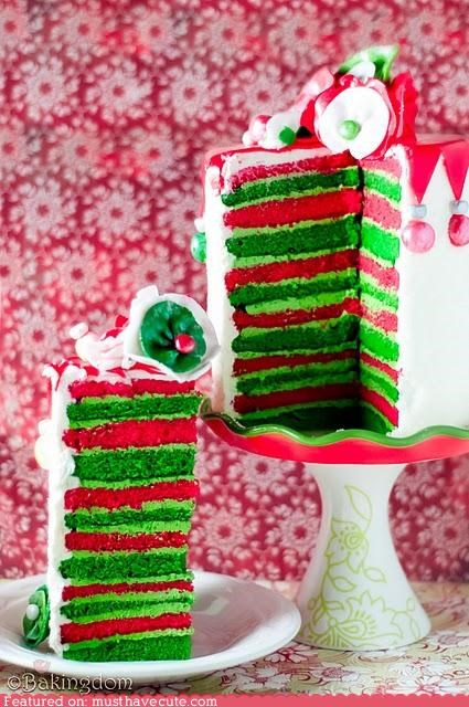 cake christmas colorful eggnog epicute frosting layers stripes - 4291599872