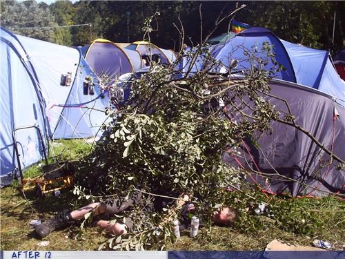 brush,passed out,tents,trees
