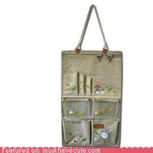 canvas hanging organizer pockets totoro