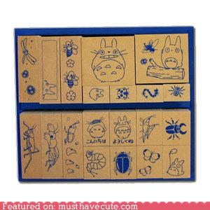 insects,rubber stamps,set,stamps,totoro