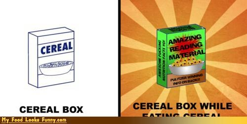 box,cereal,cereals-grains,eating,eating cereal,packaging,reading,reading material,while eating cereal