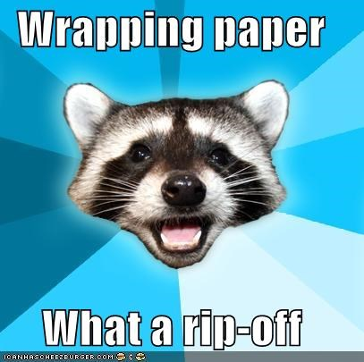 gifts holiday Lame Pun Coon Memes worst yet wrapping paper - 4293425664
