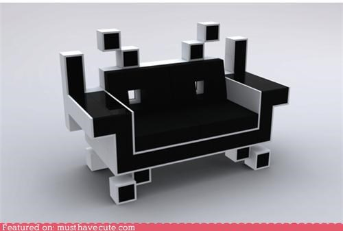 couch furniture geeky retro sofa space invaders video game - 4293537024