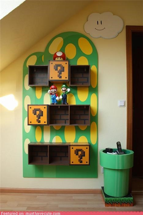 custom,furniture,mario,nintendo,shelving,storage,super mario,video game