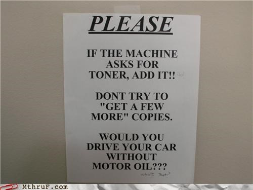 note,oil,printer,reminder,sign