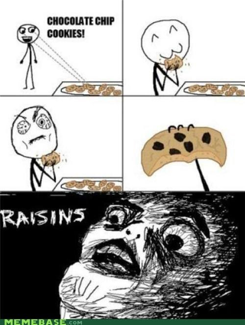 chocolate chip,comics,cookies,rage,Rage Comics,raisins