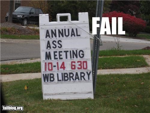 abbreviation,association,failboat,meeting,poor planning,sign