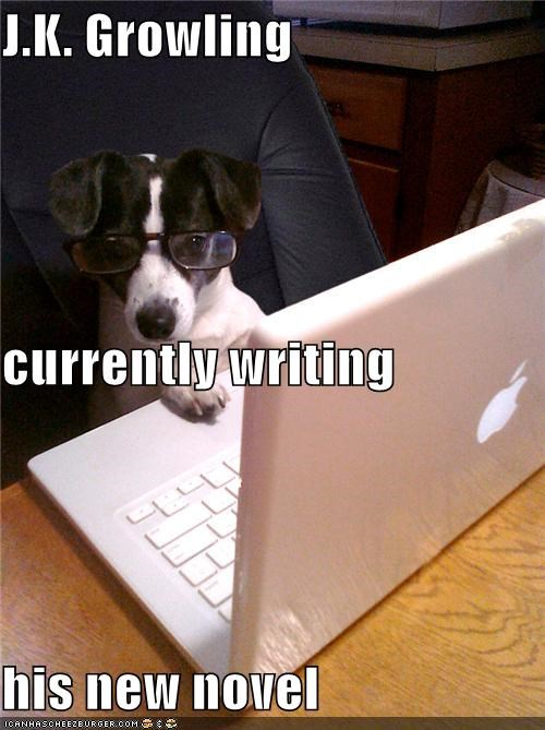 computer glasses growling Harry Potter new novel pun puppy whatbreed working writing - 4296604928