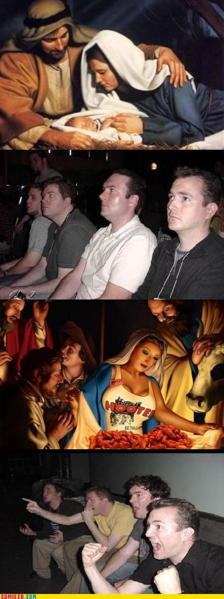 hooters,jesus,lol,Nativity Scene,reaction guys,religion