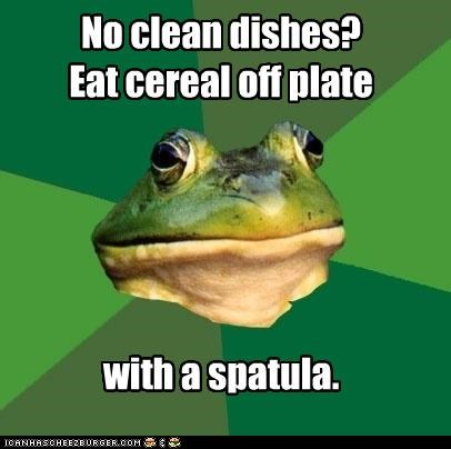 cereal,clean,dishes,foul bachelor frog,kitchen,plate,spatula