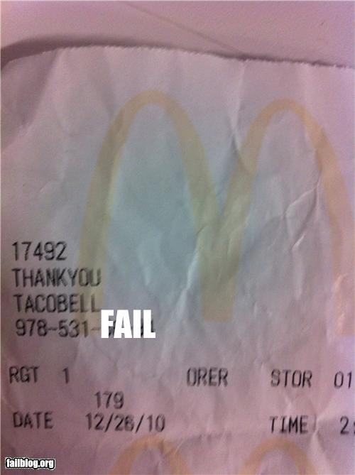 confusion,failboat,fast food,g rated,McDonald's,receipt,taco bell