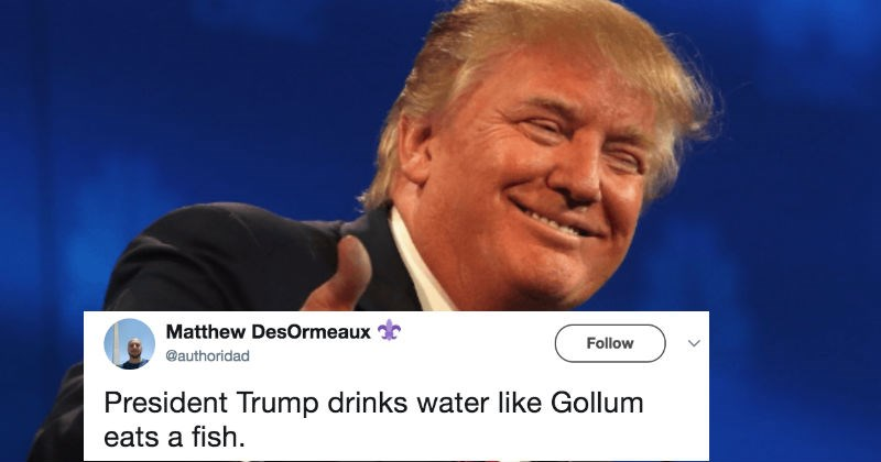 People share conspiracy theories about Donald Trump after he drinks water ridiculously on TV.