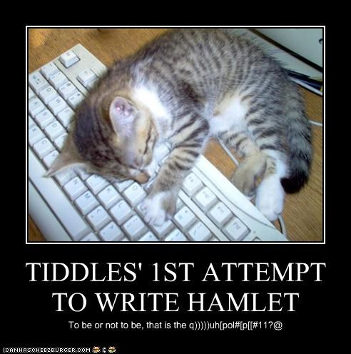 captioned computer fell hamlet keyboard shakespeare sleeping typing writing - 4298938368